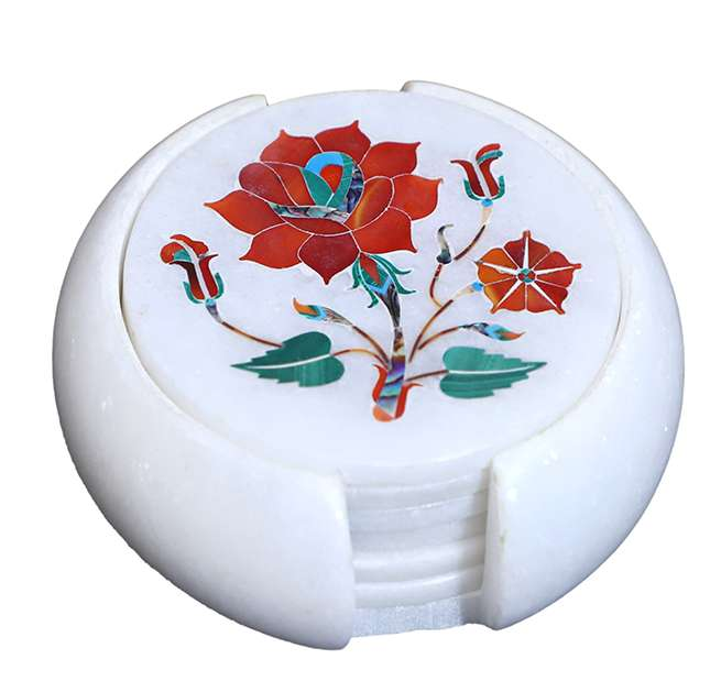 Marble Inlaid Pietra Dura Coaster Set Having Flower Motifs