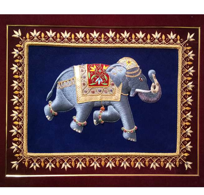 Embroidery Silk Thread  Elephant Design Wall Panel