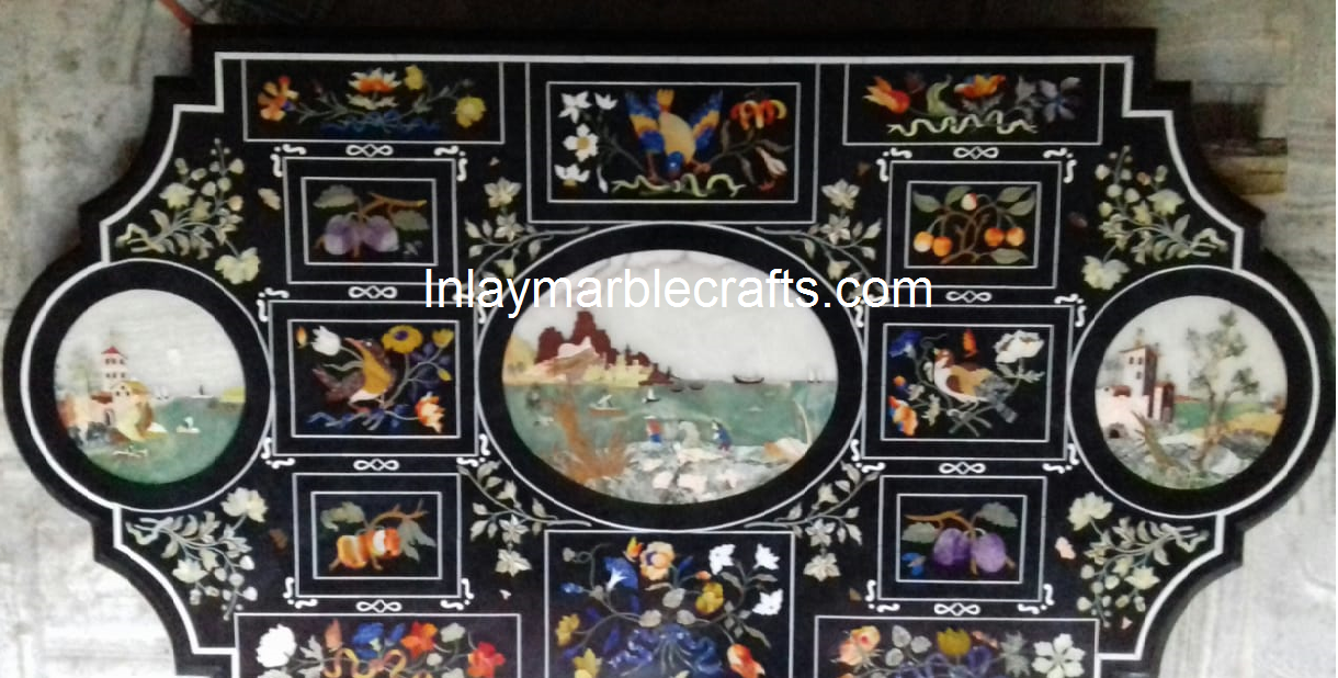ITALIAN MULTI COLOR BEAUTIFUL DESIGN MARBLE INLAY TABLE TOP