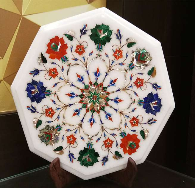 Natural Stone Marble Top Coffee Table, Marble Top Dining Table India Having Pietra Dura Inlay Work