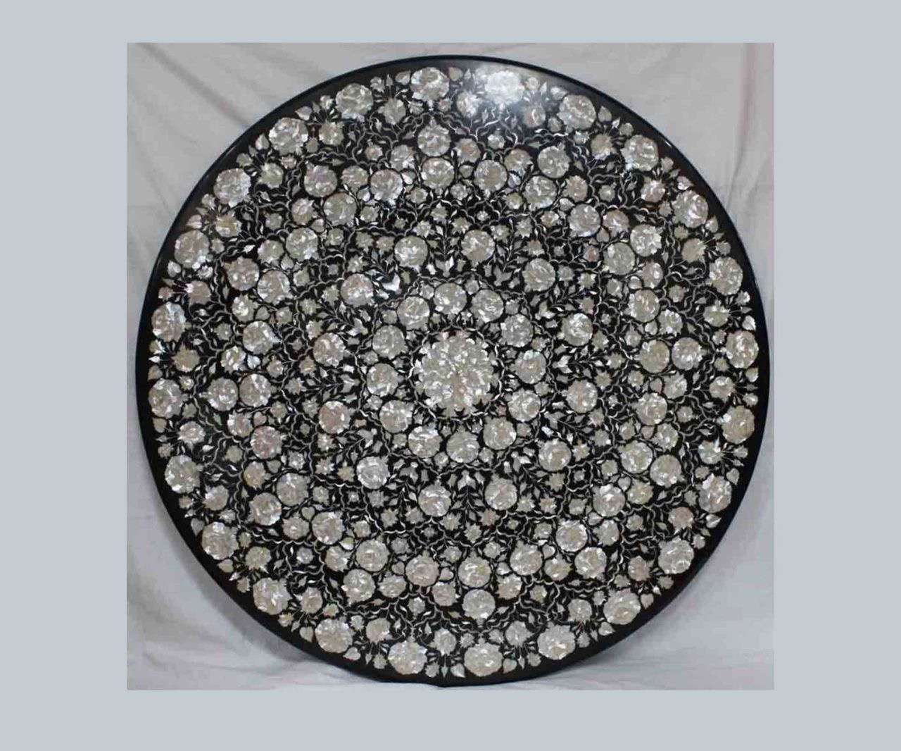 Black Marble Inlay Round tabletop
