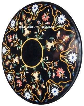 Black Marble Round Inlaid Coffee Tabletop