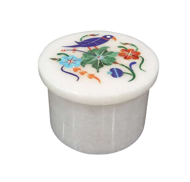 Round Marble Inlay Ring Boxes