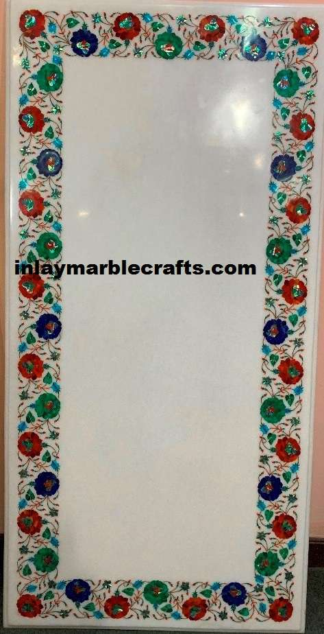 MULTICOLOR MARBLE INLAY DINNING TABLE TOP