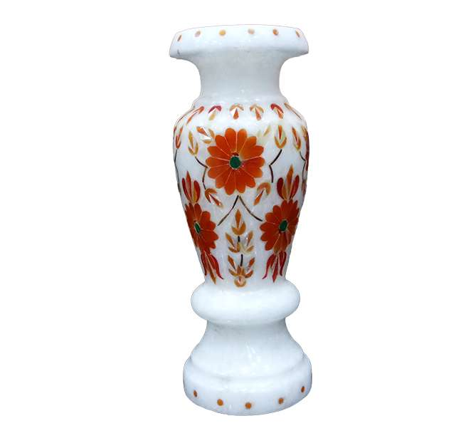 Marble Inlay Parchinkari Décor Vases