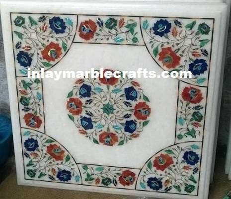 Marble Inlay Side Tabletop