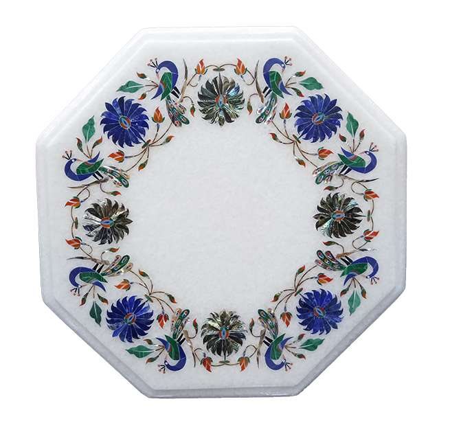 Marble Inlay Peacock Vintage Table Tops