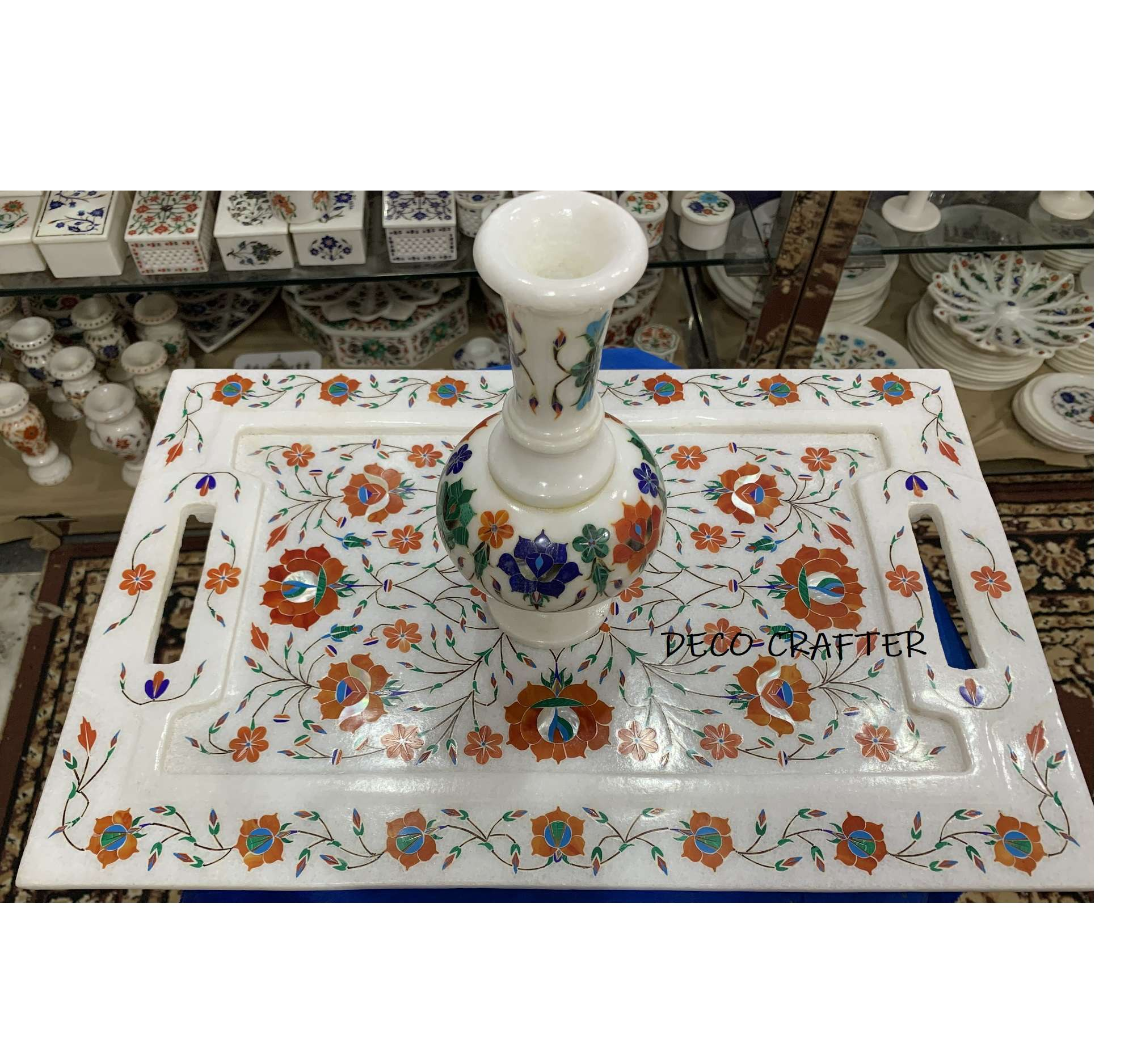 Marble Serving Tray| inlay white marble serving tray India