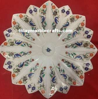 INLAY MARBLE LOTUS FLOWER PEACOCK DESIGN
