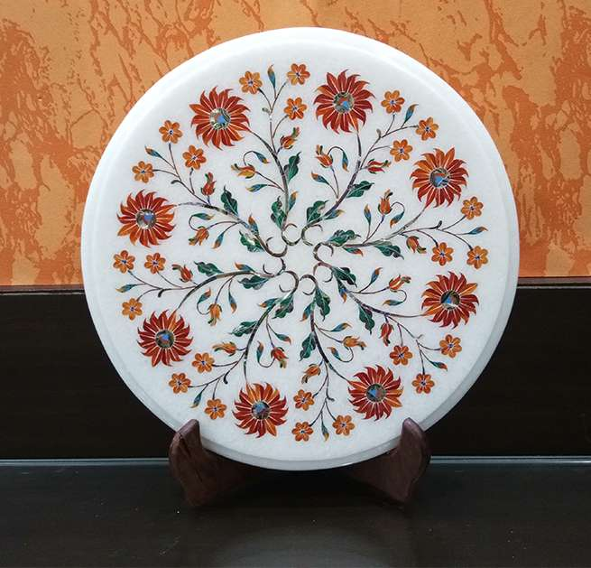 Marble Inlay Round Flower Motifs Table Tops