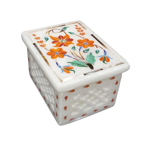 Marble Inlay Parchinkari Square Boxes
