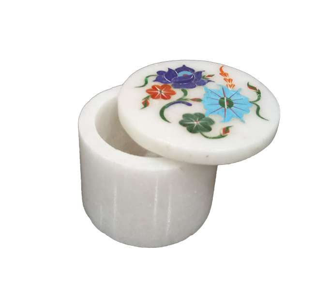 Marble Inlay Pietra Dura Round Boxes