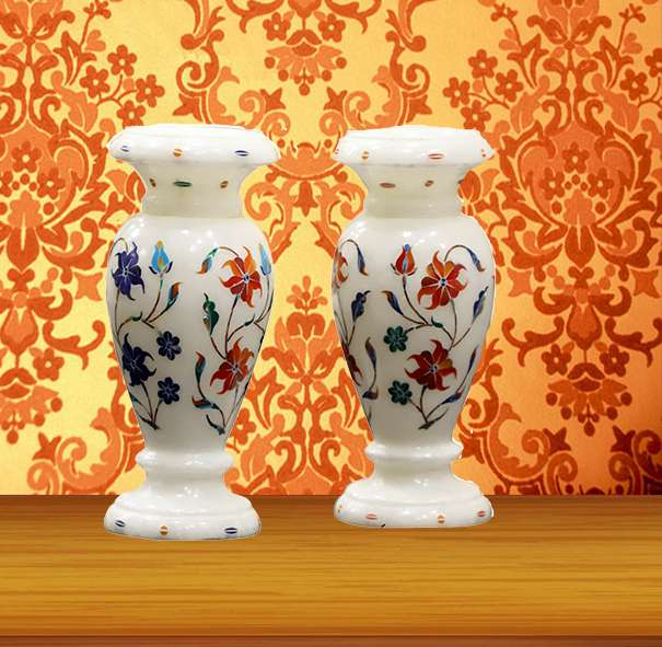 Stone Inlay Marble Decoration Purpose Marble Vase Pair,