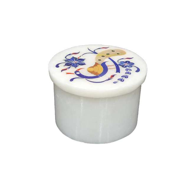 Round Marble Inlay Peacock Design Boxes