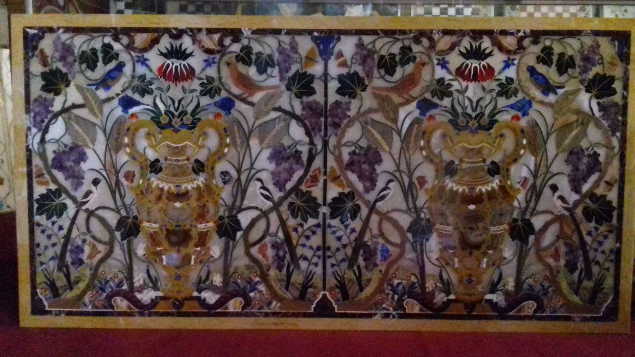 Italian Inlaid Work Marble Dining table top