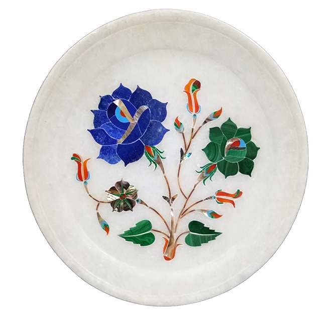 Marble Inlay Plate Having Dual Colour Flower Motifs