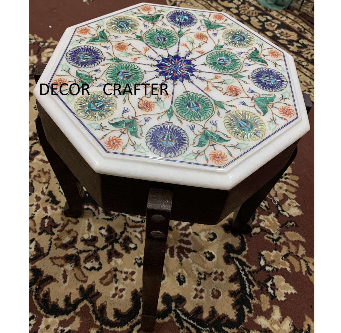 White Marble Tabletop Having Very Fine And Most Difficult Inlay Work