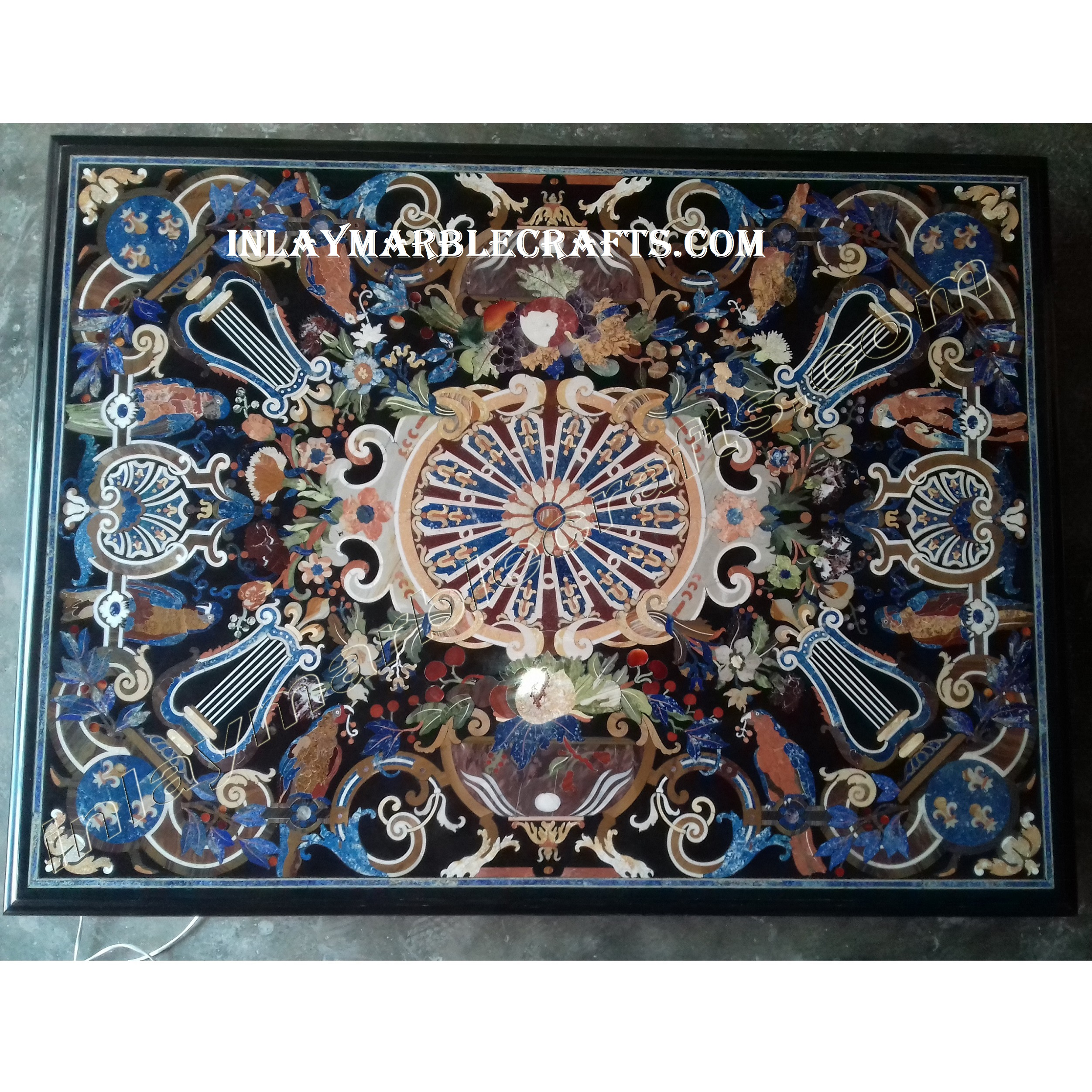 Handmade Black Marble Italian Design Dining Table Most Beautiful Having Semi-Precious Stone Inlay Art, Most Antique Turkish Design
