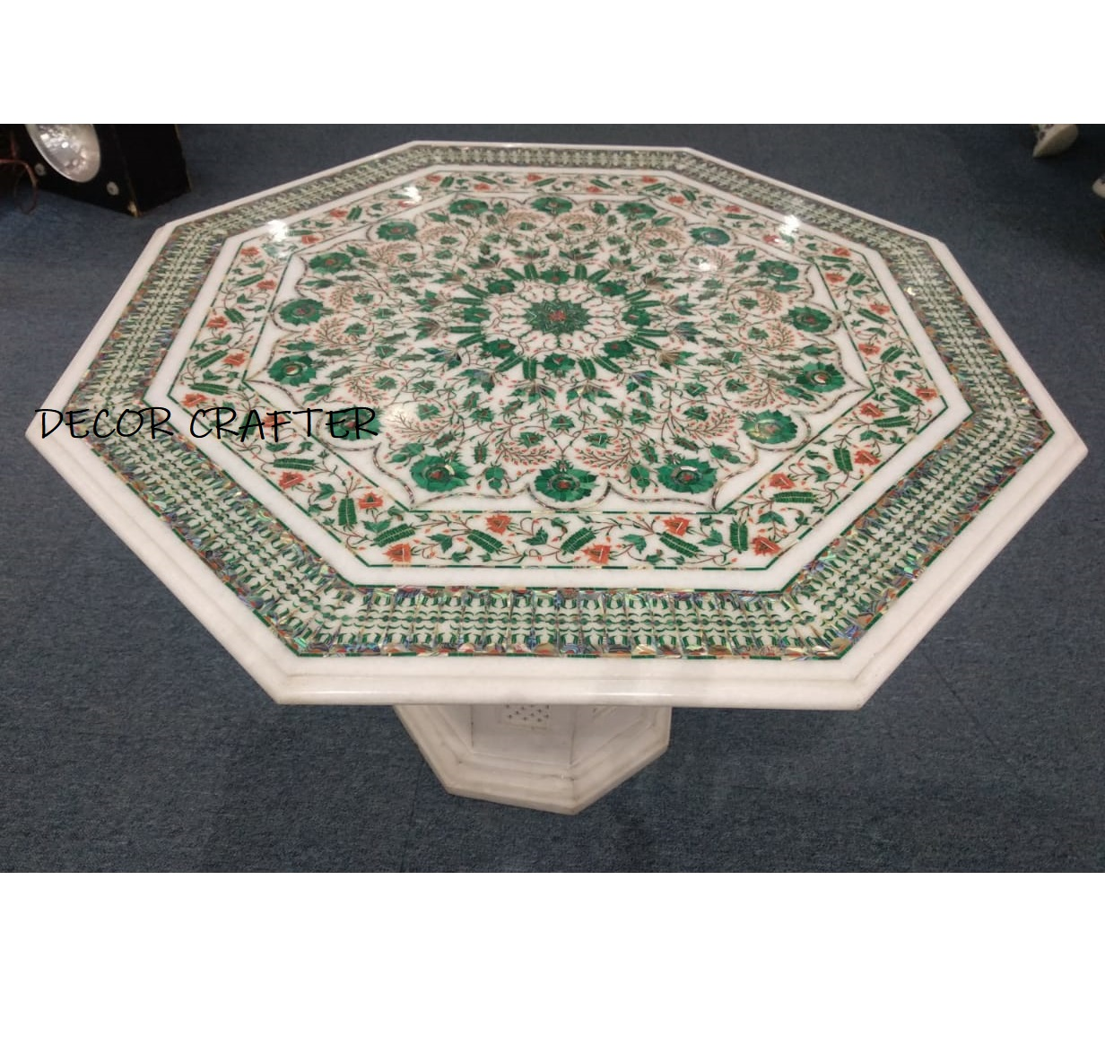 Marble Natural Stone Coffee Table Having Semi-precious Stone Inlay Work