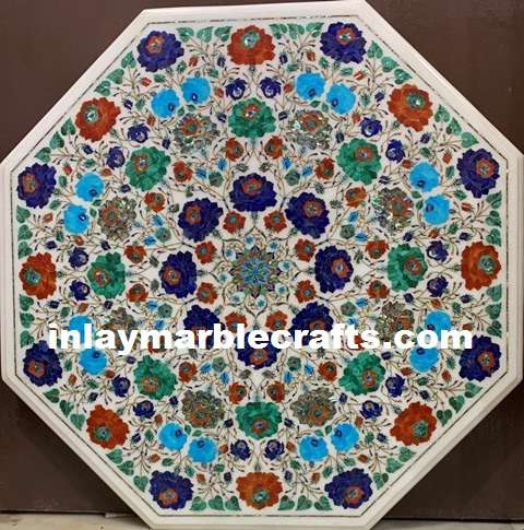 MARBLE INLAY MULTI COLOR EXCLUSIVE DESIGN TABLETOP