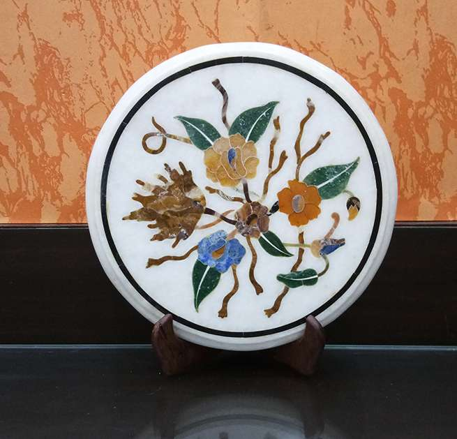 Marble Inlay Round Mosaic Table Tops| Round Marble Table For Antique Gifts