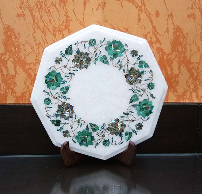 Marble Inlay Octagonal Flower Design Table Tops