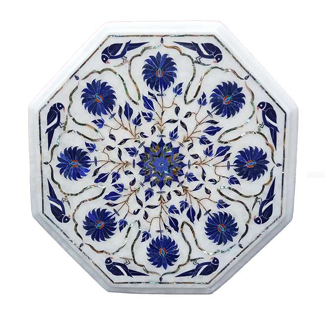 Marble Inlay Parrot Design Lapis Tables