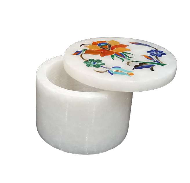 Round Marble Inlay Pietra Dura Boxes