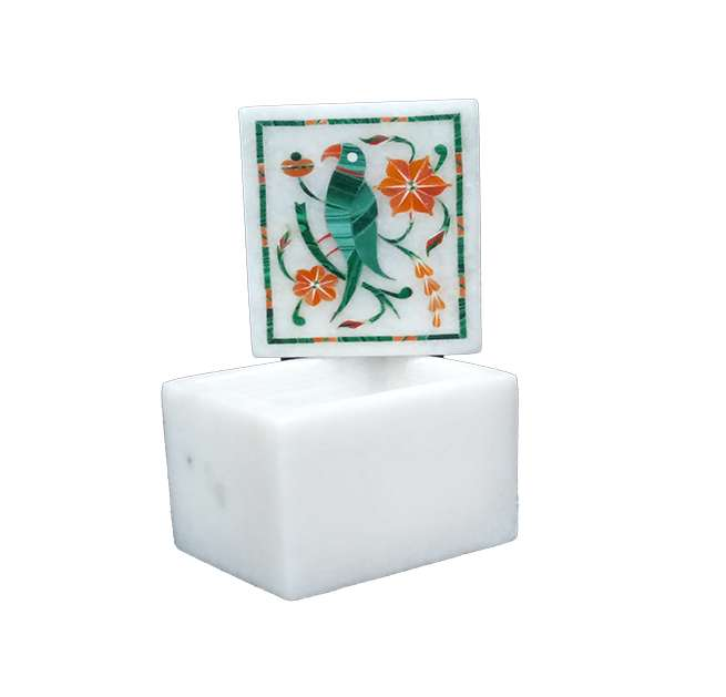 Marble Inlay Parrot Design Square Boxes