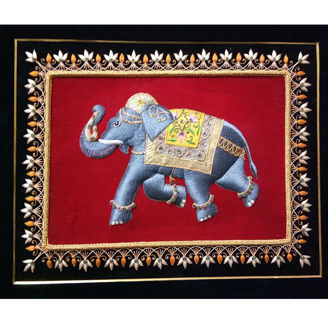 Silk Thread Embroidery Elephant Design Wall Panel
