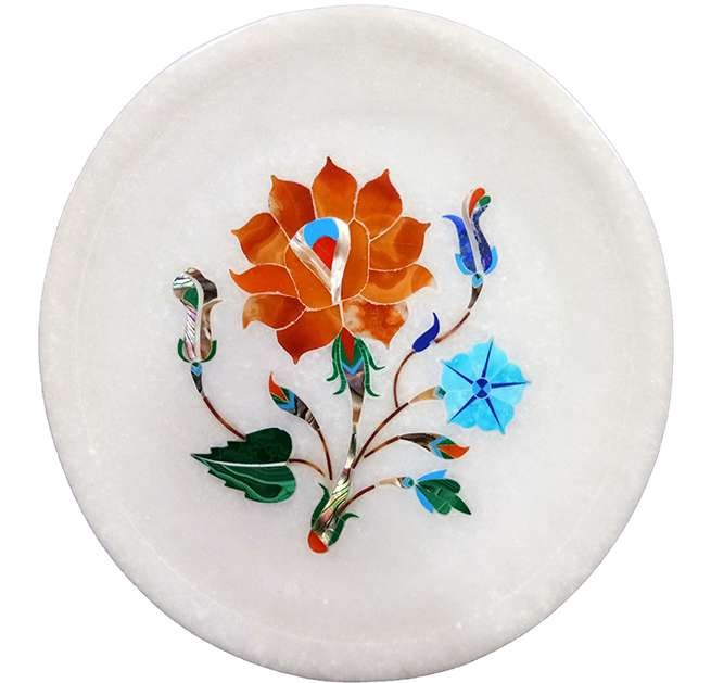 Pietra Dura Marble Inlaid Decorative Plates