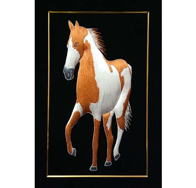 Silk Embroidered Horse Figurine Wall Hanging