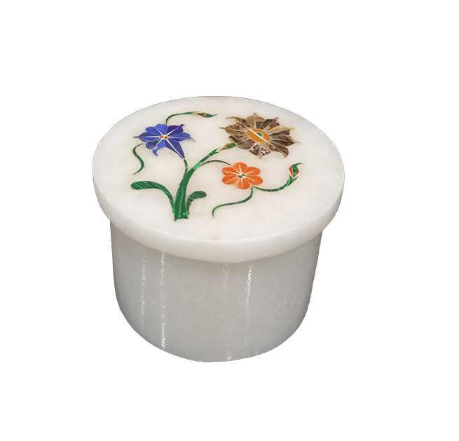 Marble Inlay Pietra Dura Ring Boxes