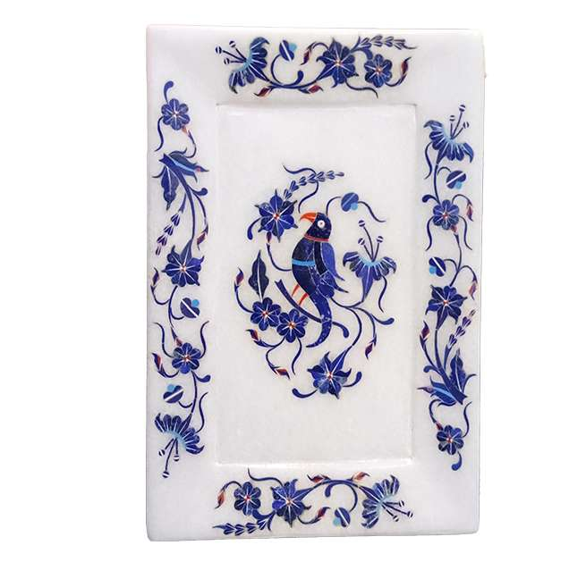 Marble Inlay Lapis Work Parrot Design Trays