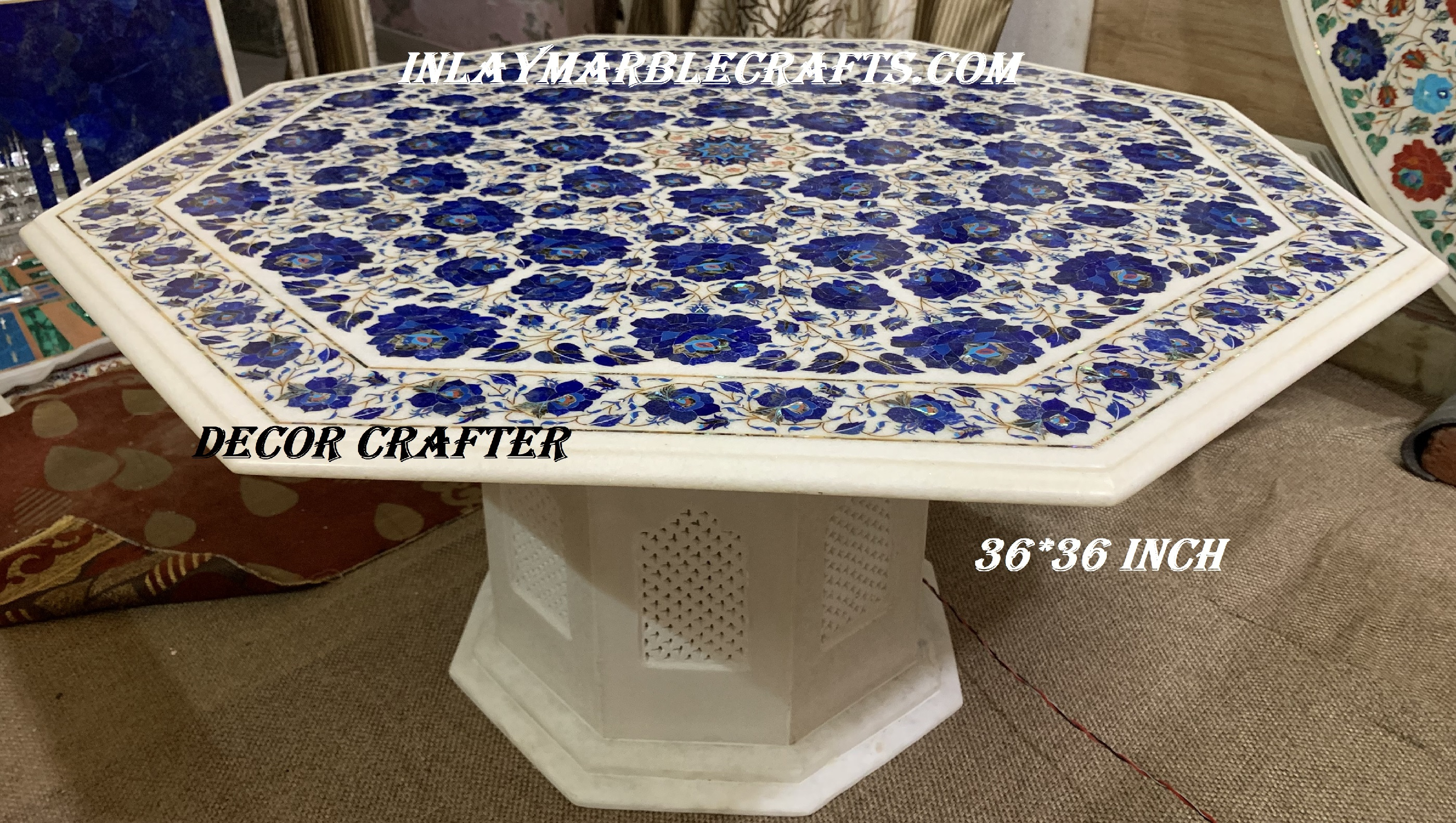 Lapis Lazuli Marble Dining Table| Marble Coffee Table| Marble Outdoor Table| Marble Center Table Having Beautiful Flower Inlay Table Design