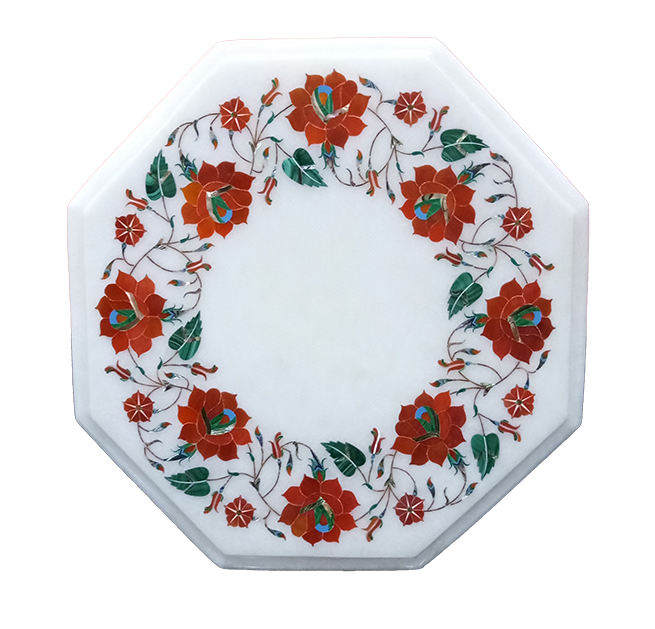 Marble Inlay Octagonal Pietra Dura Table Tops