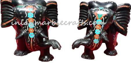 Black Marble Inlay Multi Color Pair Elephant