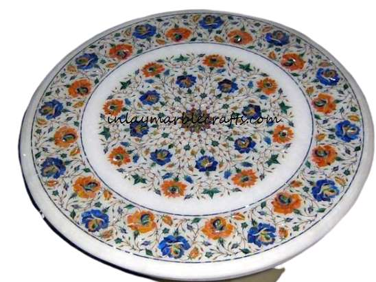 Marble Inlay Pietra Dura Side Tabletop