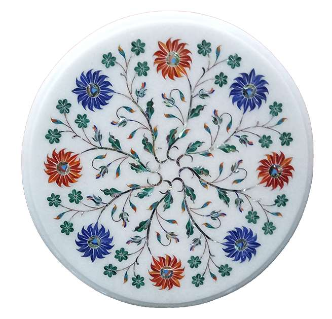 Marble Inlay Round Beautiful Flower Design Table Tops