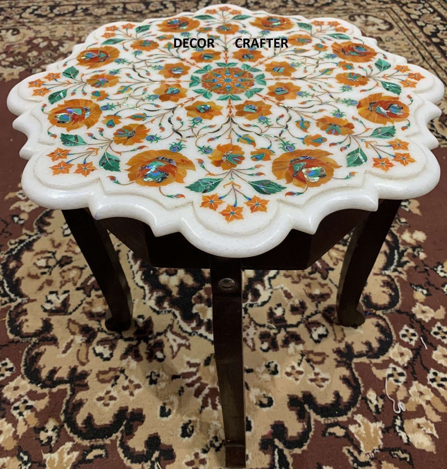 Stone Top Dining Table, Natural Stone Dining Table, Antique Stone Dining Table Having Carnelian Stone Inlay Work